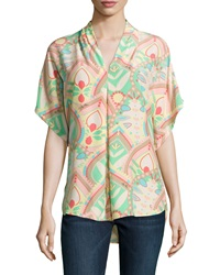 Marie Oliver Pfeiffer Printed Dolman Tunic Dramatic Scale