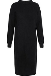 N.Peal Ribbed Cashmere Turtleneck Dress Black