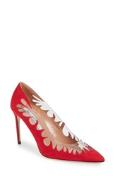Brian Atwood Victory Cutout Pointy Toe Pump Red Suede