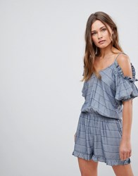 En Cr Me Creme Cold Shoulder Romper With Ruffle Details Blue