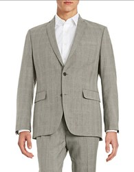 Tallia Orange Plaid Two Button Wool Suit Jacket Grey