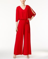 Msk Embellished Cold Shoulder Jumpsuit Red
