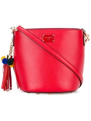 Dolce And Gabbana Cross Body Bucket Bag Women Leather One Size Red