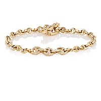 Hoorsenbuhs Women's White Diamond And Yellow Gold Tri Link Bracelet Gold No Color Gold No Color