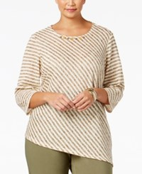 Alfred Dunner Plus Size Cactus Ranch Collection Striped Asymmetrical Top Medium Grey