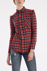 R 13 Fringed Hem Plaid Shirt Red
