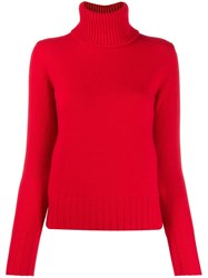 N.Peal Chunky Roll Neck Jumper Red