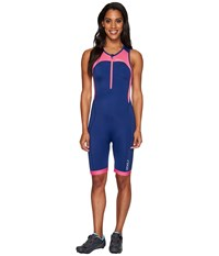 2Xu Active Trisuit Fandango Pink Navy Women's Race Suits One Piece Blue