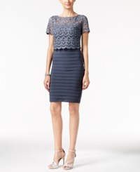 Betsy And Adam Banded Lace Popover Sheath Dress Steel