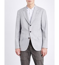 Brunello Cucinelli Check Print Wool Jacket Lt Grey
