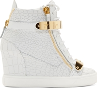 Giuseppe Zanotti White Croc Embossed Gold Bar Wedge Sneakers