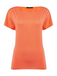 Max Mara Tenna Short Sleeve Silk Plain Top Coral