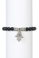 Steve Madden Beaded Hamsa Charm Stretch Bracelet Black
