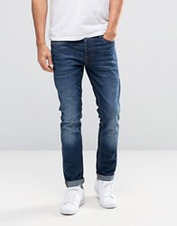 Jack And Jones Stretch Slim Fit Denim Jeans Dark Wash Blue