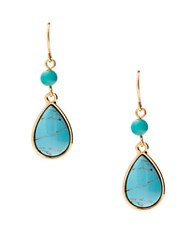 Lauren Ralph Lauren Paradise Found Turquoise And 14K Gold Plated Double Drop Earrings