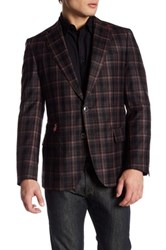 Robert Graham Plaid Print Two Button Notch Lapel Wool Sport Coat Red