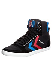 Hummel Slimmer Stadil High Hightop Trainers Black Brilliant Blue Ribbon Red Black Denim