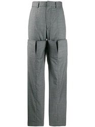 Y Project Layered Straight Leg Trousers Grey