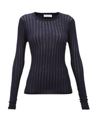 Gabriela Hearst Collins Pointelle Ribbed Cashmere Blend Sweater Navy