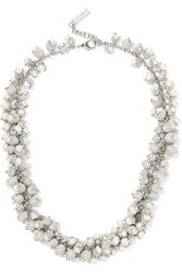 Balenciaga Lily Silver Tone Pearl And Crystal Necklace