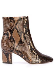 Veronica Beard Snakeskin Effect Ankle Boots Brown