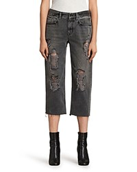 Allsaints Ivy Distressed Boyfriend Jeans In Gray