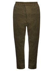 By Walid David Antique Linen Trousers Khaki