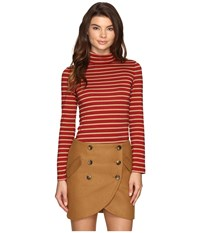 Laveer Striped Long Sleeve Turtleneck Top Red Women's Long Sleeve Pullover