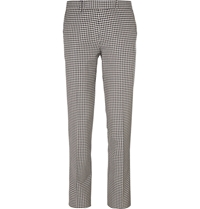 Maison Kitsune Slim Fit Checked Cotton Trousers Blue