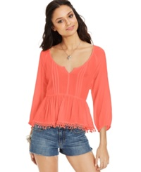American Rag Crochet Back Pintuck Top Living Coral