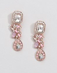 Johnny Loves Rosie Light Ammethyst Square Stone Earrings Pink Crystal