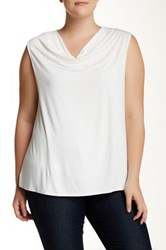 Susina Drape Neck Knit Top Plus Size White