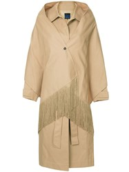 Sjyp Shawl Detailed Trench Coat Brown