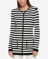 Tommy Hilfiger Striped Sweater Coat Created For Macy's Black Ivory