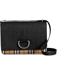 Burberry The Medium Vintage Check And Leather D Ring Bag Black