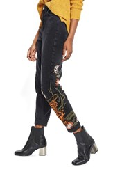Topshop Women's Tiger Embroidered Mom Jeans