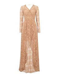 Body Frock Long Sleeve Lace Maxi Dress Pink