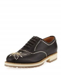 Valentino Studded Leather Oxford Black