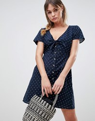 Abercrombie And Fitch Polka Dot Dress With Knot Front Navywhite Dot