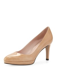 Plato Patent Leather Pump Nude Stuart Weitzman Brown