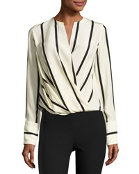 Rag And Bone Max Long Sleeve Striped Silk Blouse Beige Multi Pattern