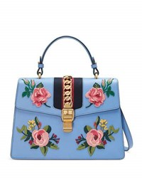Gucci Sylvie Embroidered Leather Top Handle Satchel Bag Light Blue Multi