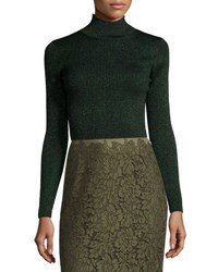 Diane Von Furstenberg Tess Metallic Ribbed Turtleneck Top Green