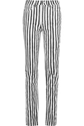 Marc By Marc Jacobs Drainpipe High Rise Striped Slim Leg Jeans Black