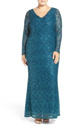 Marina Plus Size Women's Long Sleeve Sequin Lace Column Gown Jade