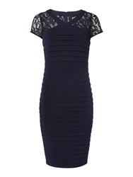 Linea Cross Over Lace Panel Illusion Dress Navy