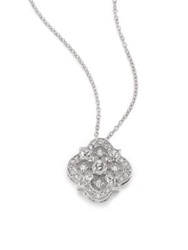 Kwiat Diamond And 18K White Gold Flower Clover Pendant Necklace White Diamond