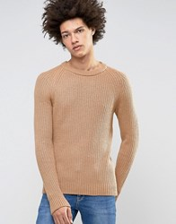Selected Homme Crew Neck Knit In Chunky Rub With Raglan Sleeve Camel Beige