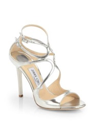Jimmy Choo Lang Strappy Mirror Leather Sandals Silver Gold