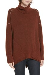 Brochu Walker Seam Detail Cashmere Blend Sweater Carmine